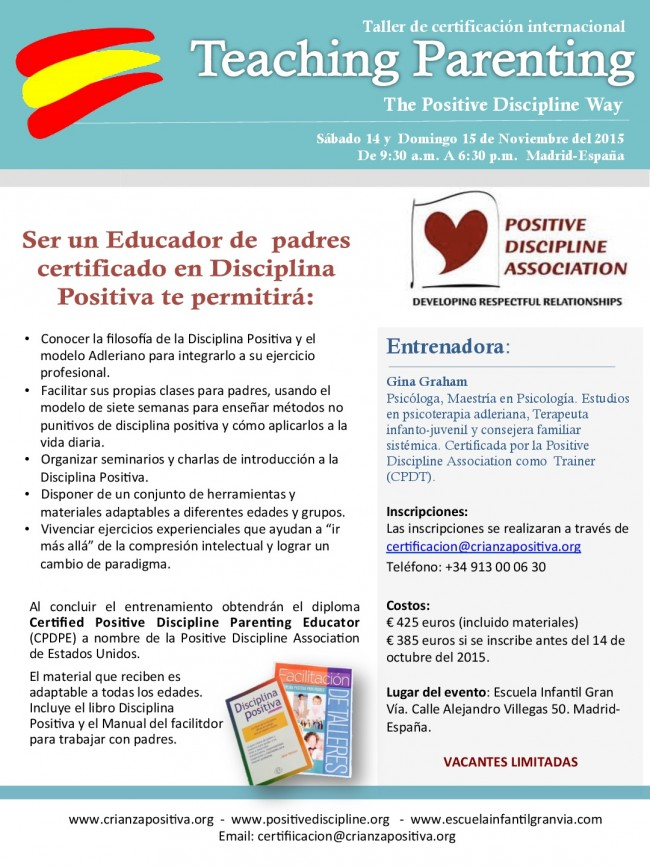 "flyer-face-Nov-tp-001-e1437741375146 Taller de Certificación Internacional ""Educando padres a la manera de la Disciplina Positiva"""